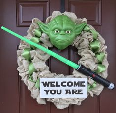 Yoda Wreath by KnitsAndWreaths on Etsy