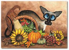 Gato siamés gracias otoño Cornucopia láminas por por AmyLynBihrle