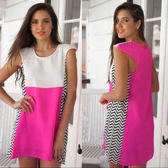 Shop Pink Colorblock Dress on Wanelo