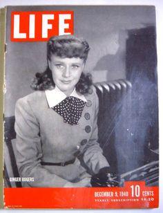 1940 December 9 LIFE Magazine Ginger Rogers - Christmas Toys in Books, Magazine Back Issues | eBay