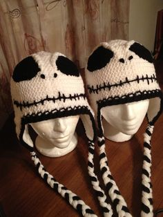 A pair of Jacks.  Jack Skellington crochet hats with ear flaps by Dawned On Me Crochet.