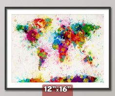 Paint Splashes Map of the World Map Art Print 12x16 by artPause, £12.99