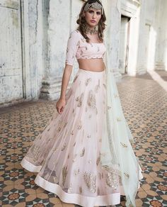 77302ffa294 Buy light pink Color with astute resham   zari work designer lehenga choli  online.This set is features a light pink blouse in silk with sequin work.