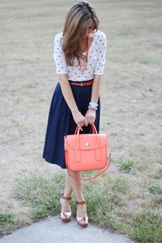 Church Outfit - polka dots, blue skirt with coral accents Work Fashion, Cute Fashion, Modest Fashion, Fashion Outfits, Petite Fashion, Fashion Men, Runway Fashion, Winter Fashion, Modest Outfits