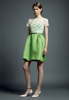 lime green & white lace dress - Valentino-resort-2013