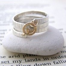 Sterling Silver & 9ct Gold Spiral Ring