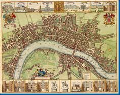 London 17Th Century Map Movie poster Metal Sign Wall Art 8in x 12in