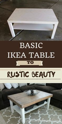 Ikea table hack: rustic planked coffee table by simplybeautifulbyangela.com