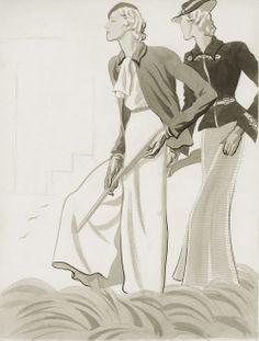 Dos elegantísimas creaciones de Georgette Renal y Worth. Sáenz de Tejada importa a España el look de la mujer andrógina, rubia, alta y delgada. © Museo ABC