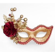 Autumn Themed Burgundy And Gold Masquerade Mask - Venetian Style New... (235 BRL) ❤ liked on Polyvore featuring masks, accessories, costumes, masquerade and fillers