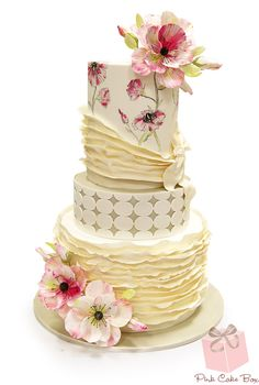 Hand Painted Spring Flower Wedding Cake