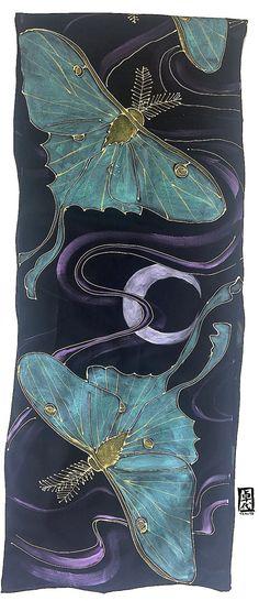 Luna Moth Scarf Handpainted Silk Scarf ETSY by SilkScarvesTakuyo