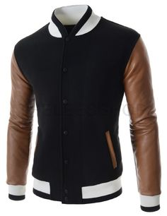 (NEJ05-BLACK) Mens Casual China Collar Quilting Arm Synthetic Leather Color Jacket