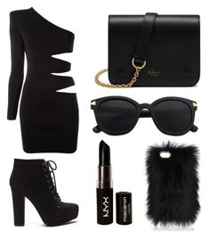 """Black"" by albertrkrogstrup on Polyvore featuring Balmain, Mulberry and NYX"