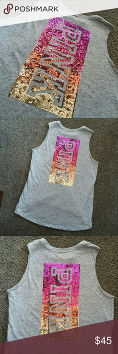 (S) New VS PINK BLING TANK Size S NWOT oatmeal color PINK Victoria's Secret Tops Tank Tops