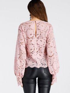 Bishop Sleeve Slit Back Lace Top Lace Dress Styles, Blouse Styles, Blouse Designs, African Fashion Dresses, Fashion Outfits, Myanmar Dress Design, Blouse Batik, Sophisticated Dress, Pastel Fashion