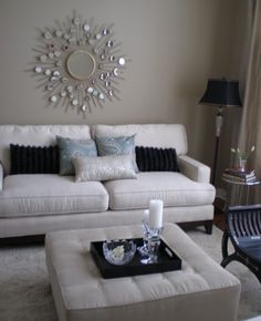 Living room white silver black taupe blue grey