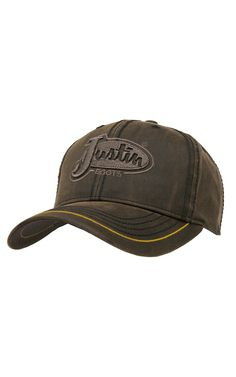 6710b8111b735 Justin Boots® Brown Oilcloth with Embroidered Logo Cap Cowboy Boot Outfits