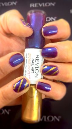 On trend: #stripes Revlon Nail Art Expressionist in Vincent Van Gold Available at Walmart