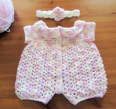 Baby Crochet Romper Handmade Baby Romper Baby by TheComfyBaby