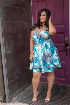 Online shopping 14 Plus Fashion for trendy plus size women   Floral Tube A-Line Dress