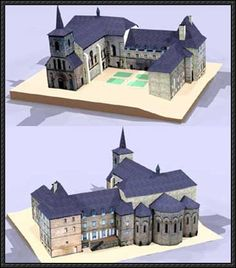 Meymac Monastic Church of St Andrew Free Building Paper Model Download - http://www.papercraftsquare.com/meymac-monastic-church-st-andrew-free-building-paper-model-download.html