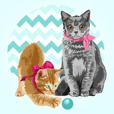 """Two Lady Cats"" - Christian Alduen"