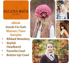 PDF Pattern - eBook Sampler (Button Up Cowl, Favorite Cowl, Ribbed Newsboy, Simply Stylish Headband) Goods for Gals pattern pack. $3.00, via Etsy.
