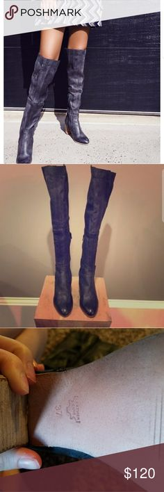 Size 7 Jack Over the Knee Boot Free People Leather black OTK boot. Sold put everywhere. Originally 200 dollar boots. On sale for 129.00 before tax. Thought I would wear, but they just stayed in the box. Free People Shoes Over the Knee Boots
