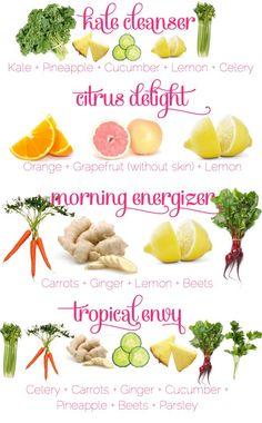 4 Amazing Juices -- Thanks to: PositiveMed. 1.) Kale Cleanser: kale + pineapple + cucumber + lemon + celery. 2.) Citrus Delight: orange + grapefruit (without skin) + lemon. 3.) Morning Energizer: carrots + ginger + lemon + beets. 4.) Tropical Envy: celery + carrots + ginger + cucumber + pineapple + beets + parsley.