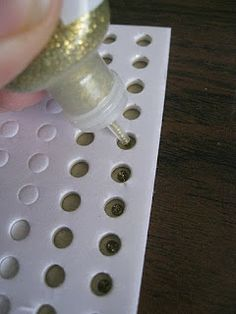 Tip from Pam Callahgan. Use foam dot waste as a template for rows of Stickles dots. Great idea! [I could also use them to line up holes punched for brads!]