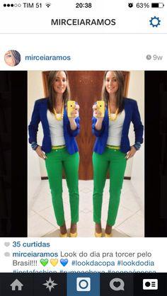 Look da copa! Torcer pelo Brasil!- look verde e amarelo
