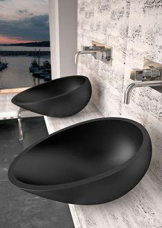 Aufsatzwaschbecken Waschbecken Terrazzo schwarz Badezimmer rund 40 ...