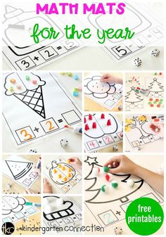 Get free printable math mats for the entire school year! Every theme, holiday or season you could ever need! These math mats are perfect for hands-on addition and subtraction practice using creative math manipulatives! - Kids education and learning acts Subtraction Kindergarten, Subtraction Games, Kindergarten Math Games, Kindergarten Freebies, Preschool Math, Teaching Math, Math Activities, Math Addition, Addition And Subtraction
