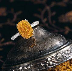 A particularly rare 4.19 carat fancy vivid orange diamond ring set a world record price of $2.96 million.  An ORANGE diamond - my soul sings!