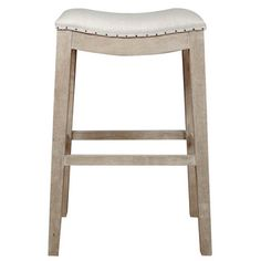 The Elegant Shape Of This Stoolu0027s Bisque French Linen Seat Is Accented By  Individually Applied Black Nail Tacks Over Fabric Trim. The Wire Brushed  Oak Frame ...
