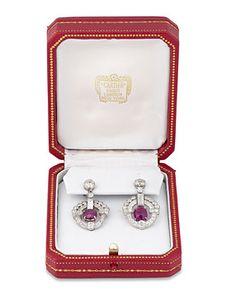 Art Deco Burma Ruby and Diamond Earrings by Cartier