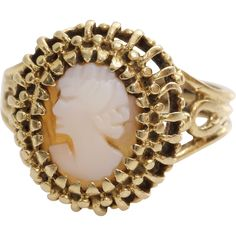 #VintageBeginsHere at www.rubylane.com @Ruby Lane --Retro Cameo Ring   14K Yellow Gold Shell   Vintage Carved Oval Pinky