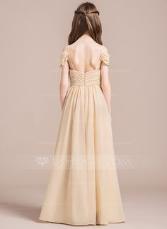 A-Line/Princess Off-the-Shoulder Floor-Length Ruffle Zipper Up Spaghetti Straps Sleeveless No Champagne General Chiffon Junior Bridesmaid Dress