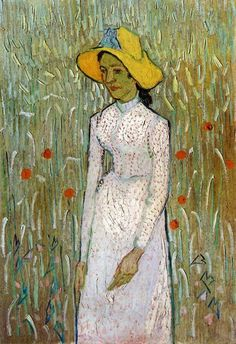 Young Girl Standing Against A Background Of A Wheat ( or Corn) Field - Vincent Van Gogh 1890
