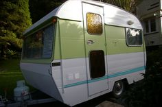 """We Have ALPHIE A stunning we Alpha and she has 3 berths a double and 2 x singles. Has to be the best layout available in a wee caravan she even has """"L"""" Shaped Lounge seating for the cosy nights with friends or the family. The Original gas [. Vintage Trailers, Vintage Campers, Retro Caravan, Lounge Seating, L Shape, Caravans, Recreational Vehicles, New Zealand, Cosy"""