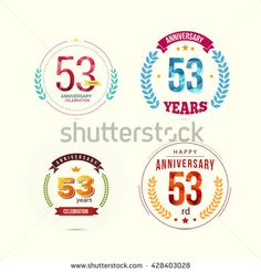 53 Years Anniversary Set with Low Poly Design and Laurel Ornaments
