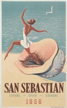 Travel: Europe - Western / San Sebastian, Spain, 1956, (looks like the shell is eating her leg!)