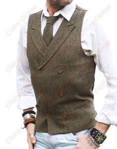 MENS BROWN DONEGAL TWEED DOUBLE BREASTED WAISTCOAT VEST - TAILORED FIT #vestsoutfits