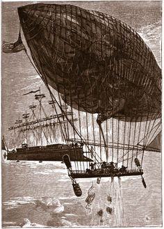 An old Jules Verne illustration, from _The Clipper of the Clouds_ (_Robur-le-Conquérant_) #aeronef #aerostat #aerodyne