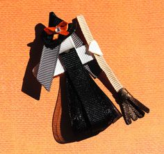 Wicked Witch with a Broomstick Ribbon Sculpture Hair Clip -- Halloween