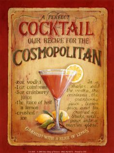 Cosmopolitan by Lisa Audit. Art Print from AllPosters.com, $6.99 Vodka, Tequila, Cocktail Drinks, Alcoholic Drinks, Liquor Drinks, Fun Drinks, Fireball Cocktails, Cosmo Cocktail, Vintage Cocktails