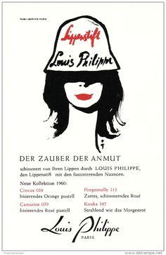 Original-Werbung/ Anzeige 1960 - LIPPENSTIFT LOUIS PHILIPPE - PARIS - ca. 90 x 145 mm