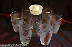 Libbey Golden Foliage / Golden Leaf Pattern Carafe with Lid & 6 matching glasses