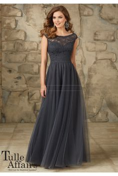Shop Morilee's Elegant Lace and Tulle Bridesmaid Dress. Bridesmaid Dresses and Gowns by Morilee designed by Madeline Gardner. Long and Elegant Lace and Tulle Bridesmaid Dress Mori Lee Bridesmaid Dresses, Grey Bridesmaids, Tulle Bridesmaid Dress, Wedding Dresses, Dark Grey Bridesmaid Dresses, Long Brides Maid Dresses, Bohemian Bridesmaid, Prom Gowns, Pageant Dresses